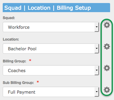 Squad, Location, Billing Setup