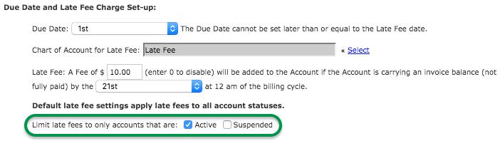 Late fee settings