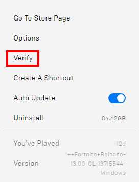 Verify your games in the Epic Games Launcher