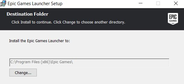 Epic Games launcher setup page
