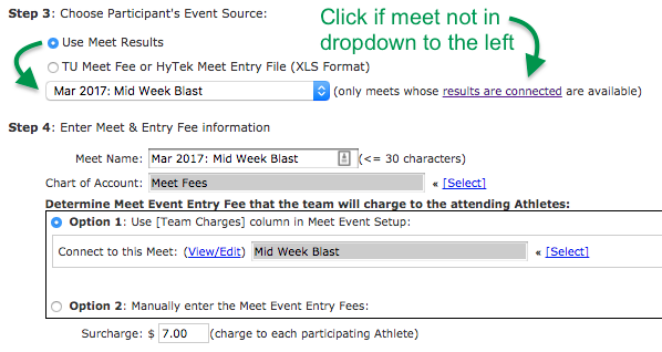 Import Meet Entries to new Invoice Items