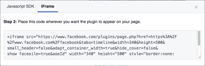 Facebook plugin code
