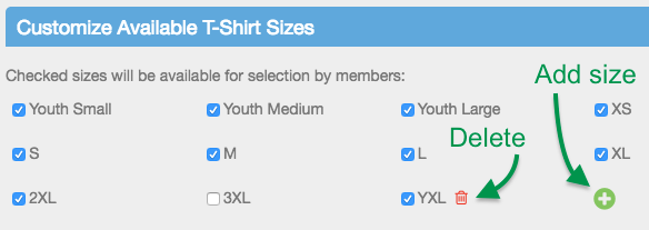 Customize Available T-Shirt Sizes