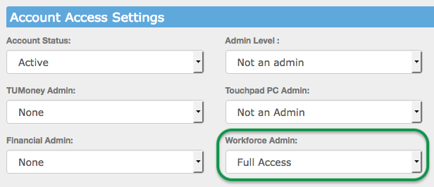 Account Access Settings