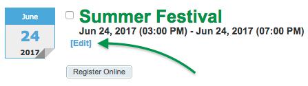 Event Registration listing