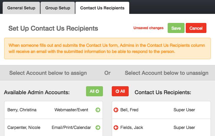 Contact Us Recipients tab
