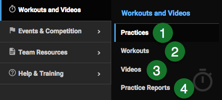 Workouts & Videos menu