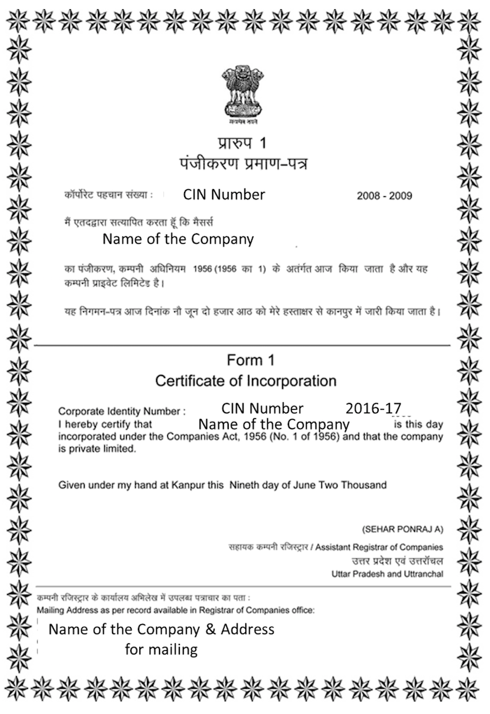 What Is A Certificateletter Of Incorporation For An India Visa