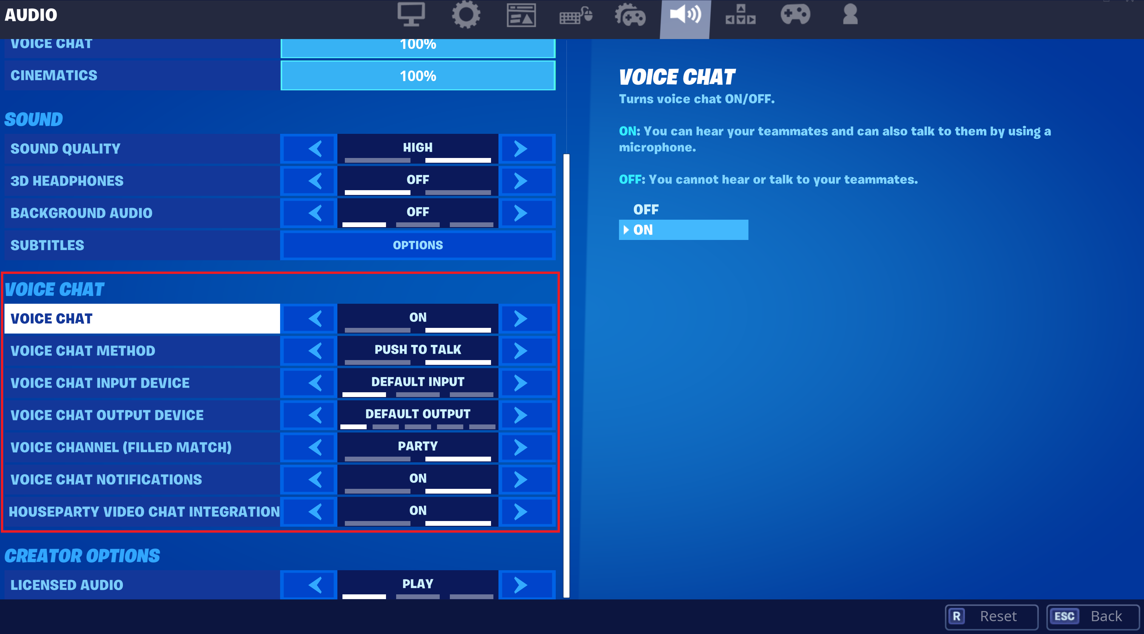 Manage voice chat in Fortnite