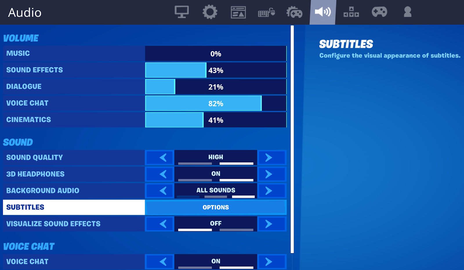 Turn subtitles on or off in Fortnite