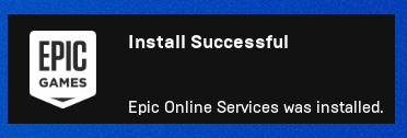 Epic Online Services successful installation notification