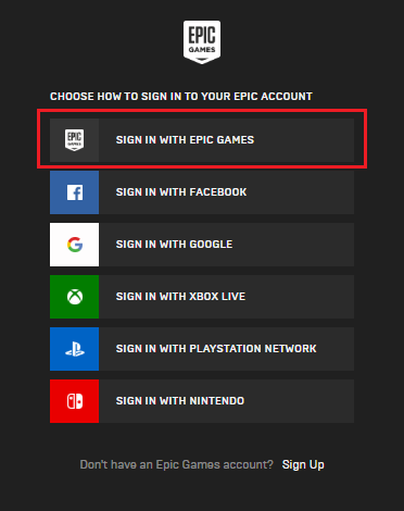 sign in with epic games