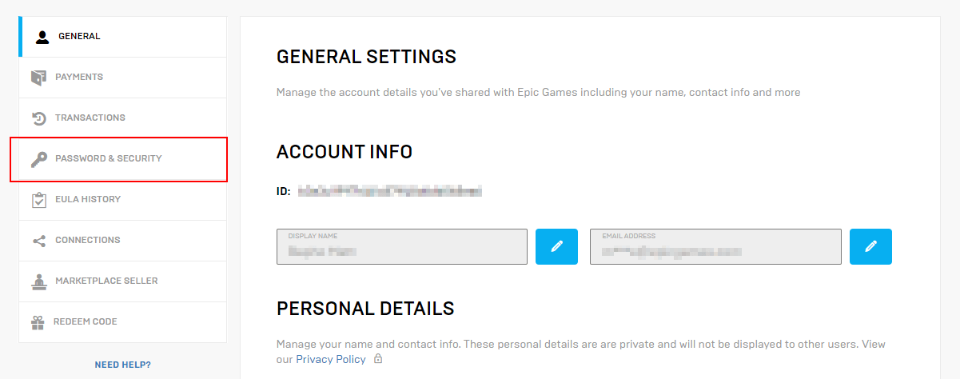 epic games account password and security
