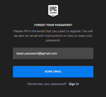 epic games account password reset forgot your password