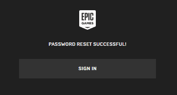 epic games account password reset successful