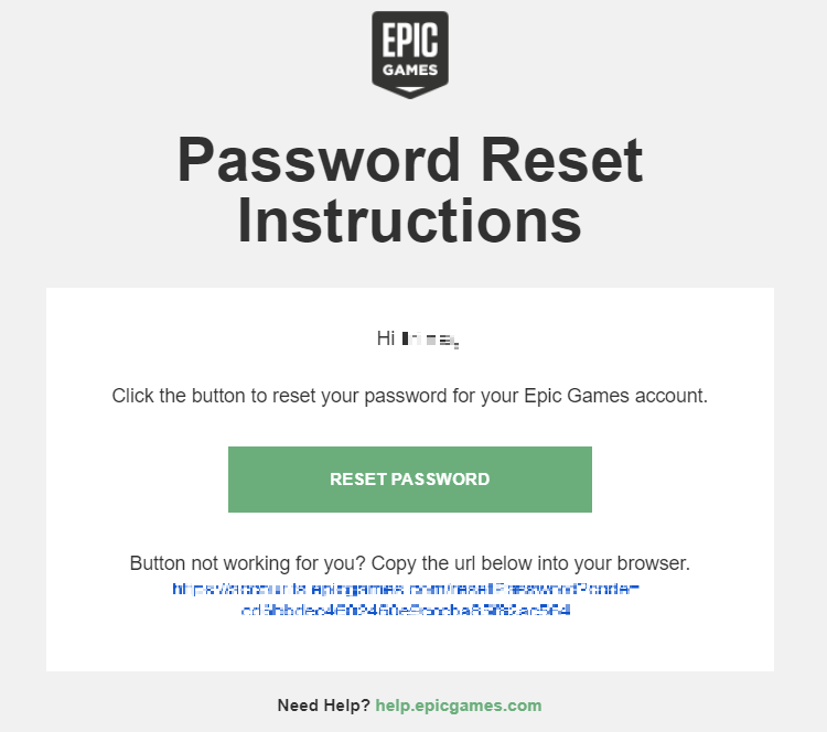 epic games account password reset instructions email