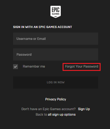 epic games account password reset forgot your password link
