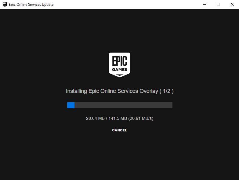 Epic Online Services will start up shortly and run its update process.