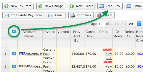 Accounts, Email Inv button