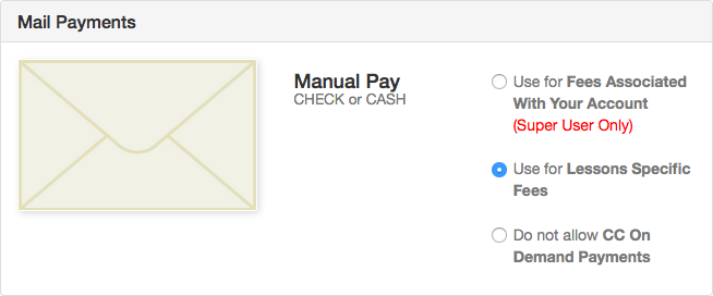 Mail Payments section of Payment Manager