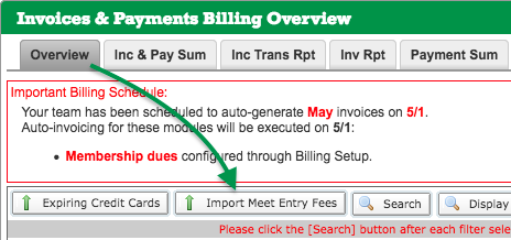 Import Meet Entry Fees button