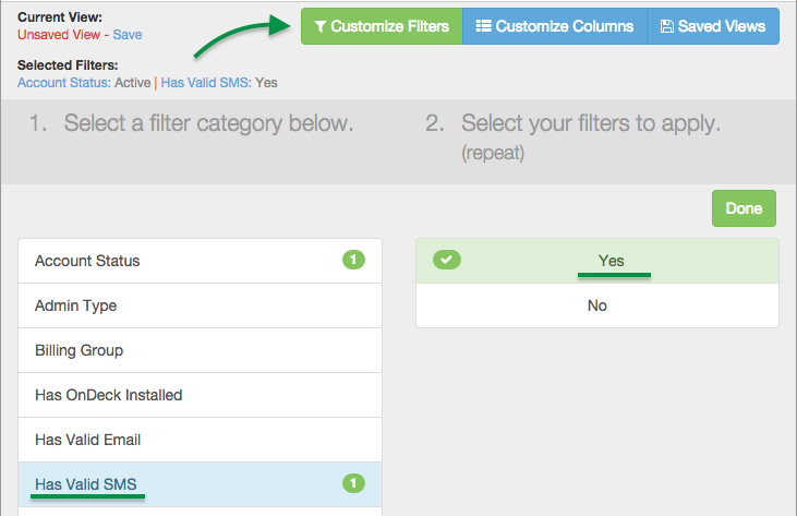 Customize Filters