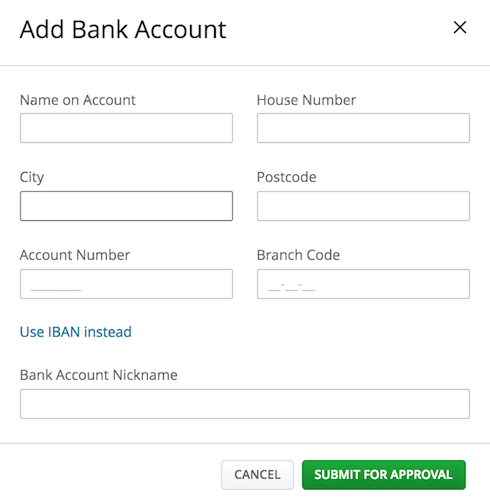 Add Bank Account screen