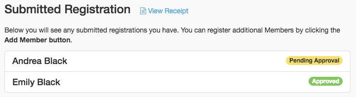 Submitted Registrations