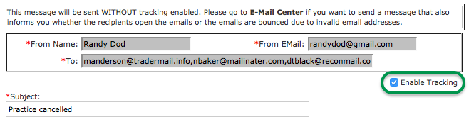 Communication: Track emails sent outside of the Email Center