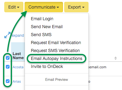 Email Autopay Instructions selection in Communicate menu