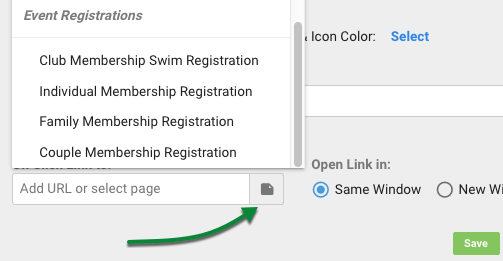 Event registration selection