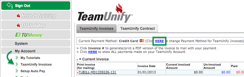 TeamUnify Invoices