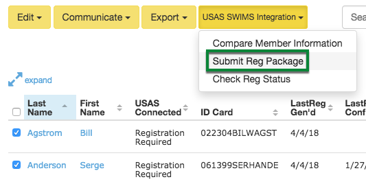 Submit Reg Package to SWIMS