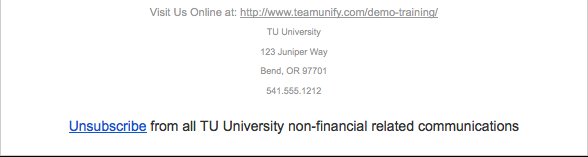 Unsubscribe from all Team Name non-financial related communications