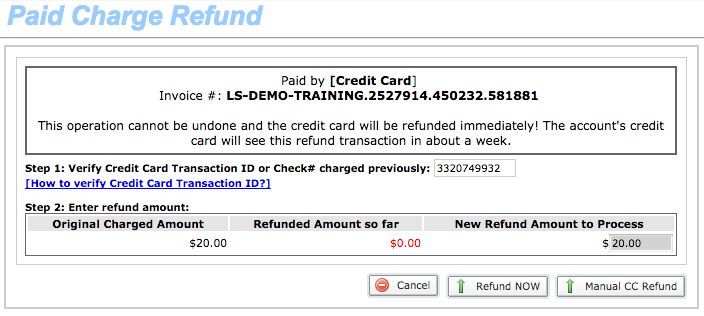 Paid Charge Refund