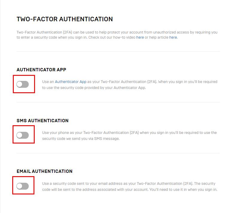 Варианты двухфакторной аутентификации для учётных записей Epic Games