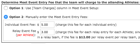Option 2 for meet fees