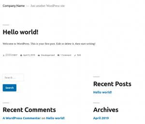 The WordPress Theme Default Twenty Nineteen Theme and the WordPress Default Starter Content