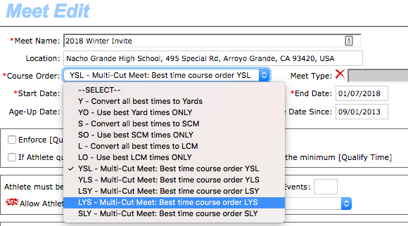 Meet Edit - Course Order