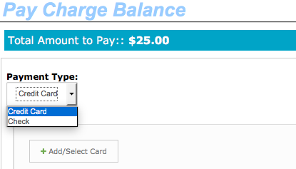 Pay Charge Balance Payment type selection
