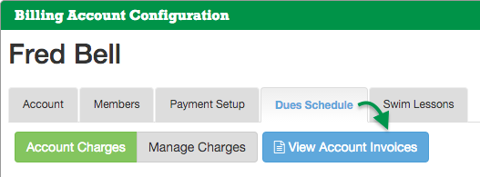 Account Dues Schedule tab