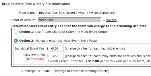 Step 4: Enter Meet & Entry Fee information