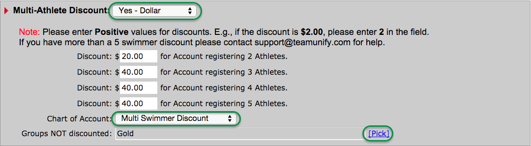 Multi-Athlete Dollar Discount