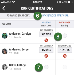 Backstroke Start Certifications