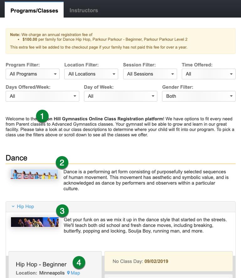 Class Registration page elements