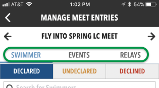 Manage Meet Entries