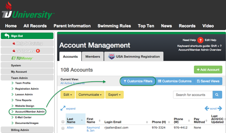Account/Member Admin