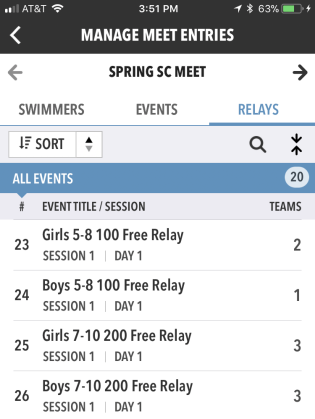 Manage Meet Entries - Relays