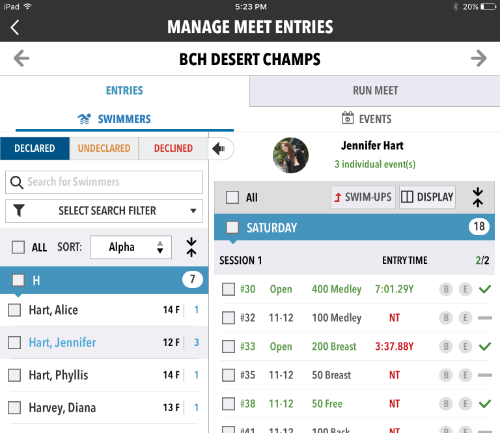 Manage Meet Entries on tablet