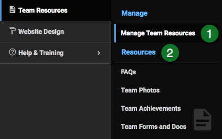 Team Resources menu